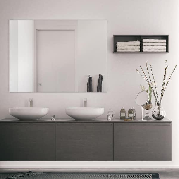 Glacier Bay 36 In W X 48 In H Frameless Rectangular Beveled Edge Bathroom Vanity Mirror In Silver 81179 The Home Depot