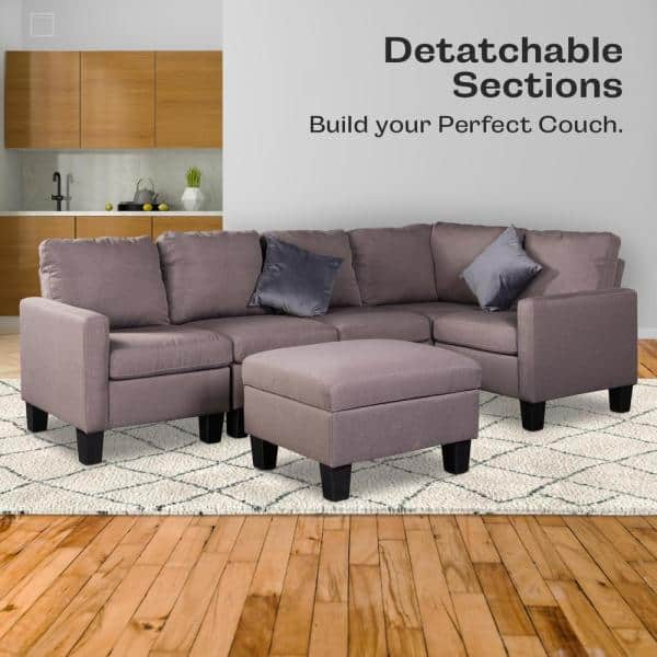 Good Gracious 81 In Brown Microfiber 6 Seats Sectional Sofa Set With Storage Ottoman Sct Sf01 The Home Depot