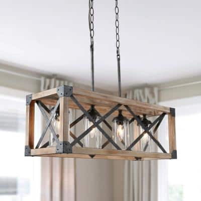 Black Iron Farmhouse Wood Chandelier, 27.5 in. 4-Light Linear Rectangular Island Chandelier with Clear Glass Shades