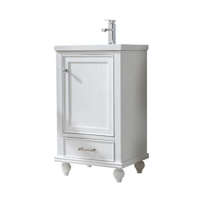 Melissa 20.5 in. W x 16 in. D x 34.5 in. H Bath Vanity in Grain White with Ceramic Vanity Top in White with White Basin