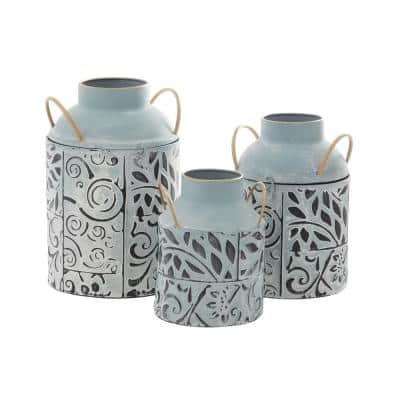 Blue Metal Farmhouse Decorative Vase (Set of 3)