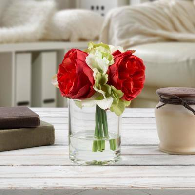 6.5 in. Hydrangea and Rose Artificial Floral Red Arrangement