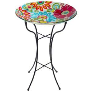 18 in. Pastel Pink and Blue Flowers Hand Painted Glass Outdoor Patio Bird Bath