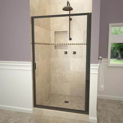 1100 Series 33-3/4 in. W x 67 in. H Framed Pivot Shower Door in Oil Rubbed Bronze with Pull Handle and Clear Glass