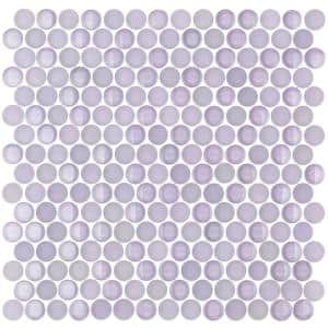 Contempo Lavender Circles 11-12 in. x 12 in. 8 mm Polished  and  Frosted Glass Mosaic Tile(0.96 sq. ft. )