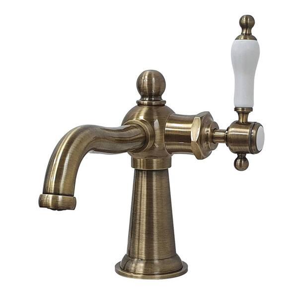 Kingston Brass Whitaker Single Hole Single Handle Bathroom Faucet In Antique Brass Hks154klab The Home Depot