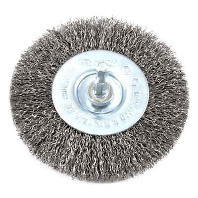 4 in. x 1/4 in. Hex Shank Coarse Crimped Wire Wheel Brush