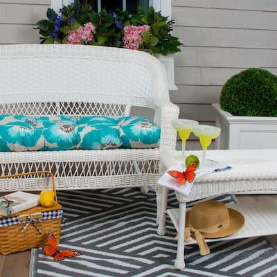 Laguna 44 in. x 19 in. x 5 in. Outdoor Rectangular Loveseat Cushion in Blue