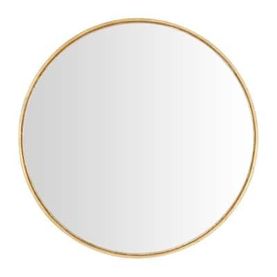 Medium Round Gold Convex Classic Accent Mirror (24 in. Diameter)