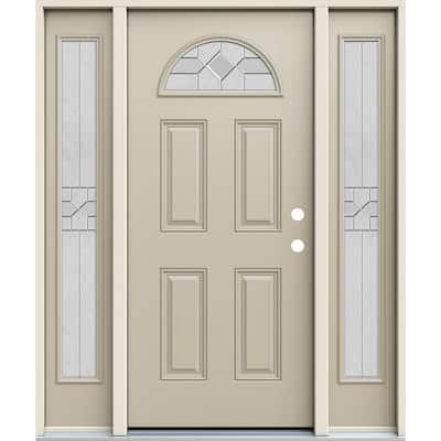 60 in. x 80 in. Left-Hand Fan Lite Decorative Glass Caldwell Desert Sand Fiberglass Prehung Front Door W/Sidelites