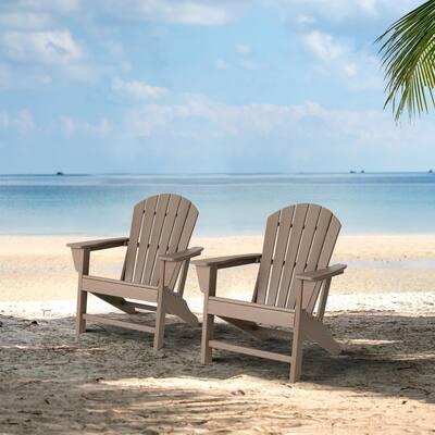 Tan HDPE Plastic Adirondack Chairs (2-Pack)