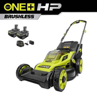 ONE+ HP 18V Brushless 16 in. Cordless Battery Walk Behind Push Lawn Mower with (2) 4.0 Ah Batteries and (1) Charger