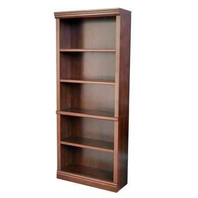 71.5 in. Dark Brown Wood 5-shelf Standard Bookcase with Adjustable Shelves