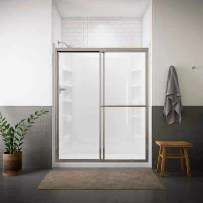 Deluxe 59-3/8 in. x 70 in. Framed Sliding Shower Door in Silver with Handle