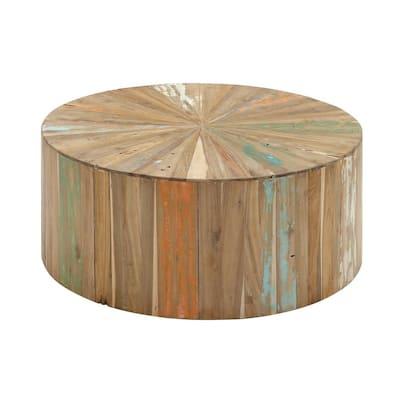 38 in. Brown Medium Round Wood Coffee Table