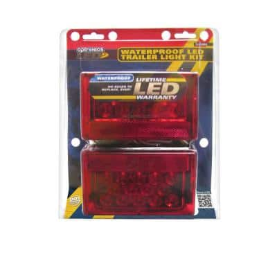Waterproof Red LED Trailer Light Kit with 25 ft. Harness and License Plate Bracket