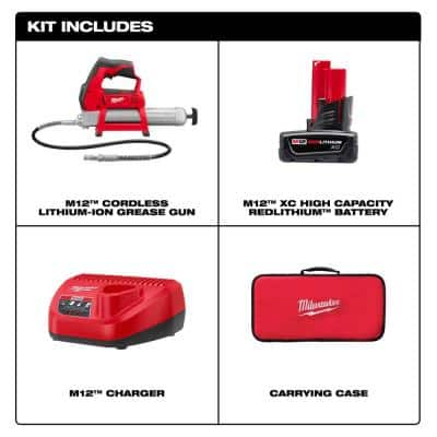 M12 12-Volt Lithium-Ion Cordless Grease Gun Kit with One 3.0 Ah Battery, Charger and Tool Bag