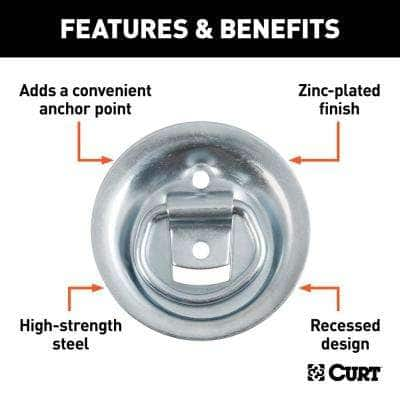 """1-1/8"""" x 1-5/8"""" Recessed Tie-Down Ring (1,000 lbs., Clear Zinc)"""