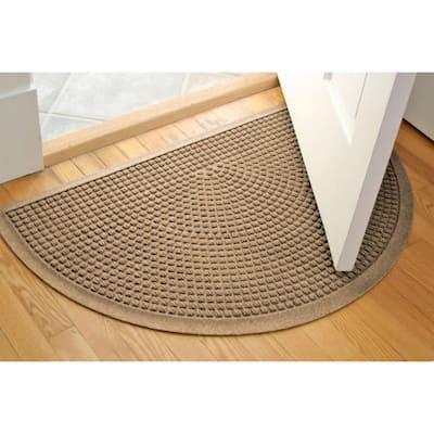 Squares 24 in. x 39 in Half Round PET Polyester Doormat