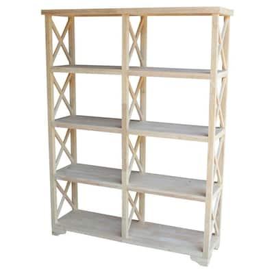 71.9 in. Unfinished Wood 8-shelf Etagere Bookcase with Adjustable Shelves