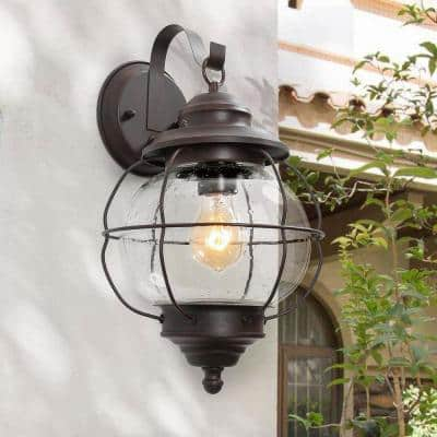 1-Light Bronze Industrial Farmhouse Wall Sconce Coastal Interior/Exterior Wall Sconce with Caged Seeded Glass Shade