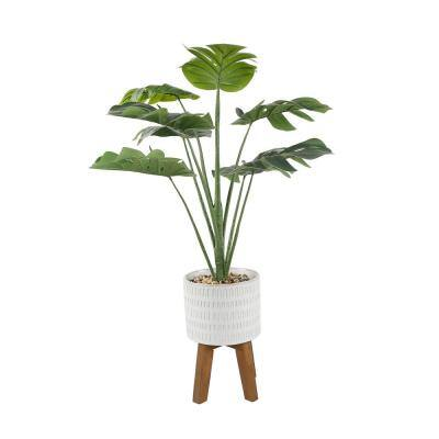 32 in. H Artificial Split-leaf in 8 in. Raindrop Ceramic Pot on Stand