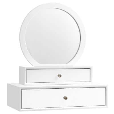 Medium White Wood Shelves & Drawers Modern Mirror (23.5 in. H X 10.5 in. W)