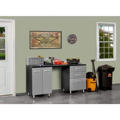 2-Piece Composite Garage Storage System in Black with Silver Metallic Fronts (71 in. W x 36 in. H x 21 in. D)