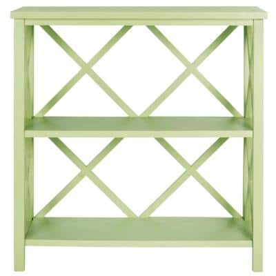 35.6 in. Avocado Green Wood 2-shelf Etagere Bookcase with Open Back