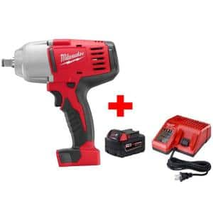 M18 18-Volt Lithium-Ion Cordless 1/2 in. Impact Wrench W/ Friction Ring W/ (1) 5.0Ah Battery and Charger