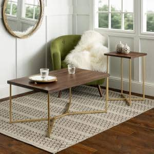 42 in. Dark Walnut/Gold Large Rectangle MDF Coffee Table