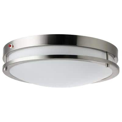 18 in. 1-Light Brushed Nickel Selectable LED CCT Tunable Round Dimmable Ceiling Flush Mount, Emergency Backup Battery