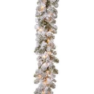 9 ft. x 12 in. Feel Real Snowy Camden Garland with 50 Clear Lights