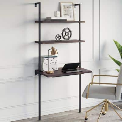 Theo Nutmeg and Black 2-Shelf Wall-Mount Ladder Writing Desk Table Small Computer Table Bookcase