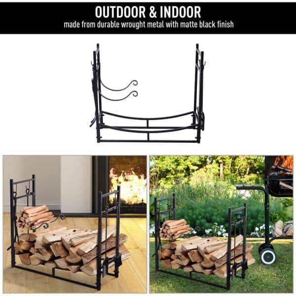 Outsunny 33 In L Wrought Iron Indoor Outdoor Fireplace Tool Set Log Rack Holder With Fireplace Tools 842 129 The Home Depot