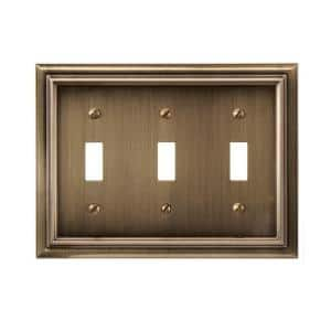 Continental 3 Gang Toggle Metal Wall Plate - Brushed Brass
