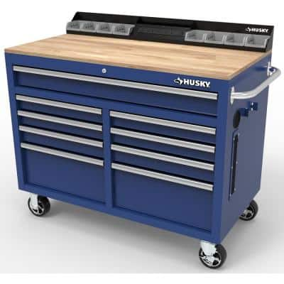 46 in. W x 24.5 in. D 9-Drawer Gloss Blue Deep Tool Chest Mobile Workbench with Hardwood Top and Power Station