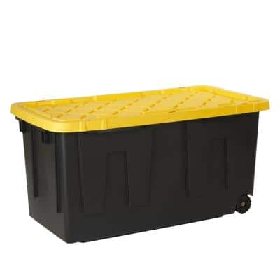 70 Gal. Tough Storage Bin in Black with Wheels