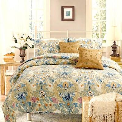 Vintage Luxury Classic 3-Piece Beige Yellow Beige Blue Floral Garden Cotton King Quilt Bedding Set