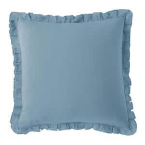 Linen Cotton Solid Blue Smoke Ruffled 26 in. x 26 in. Euro Throw Pillow Cover