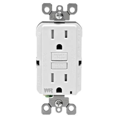 15 Amp 125-Volt Duplex Self-Test Tamper Resistant/Weather Resistant GFCI Outlet, White (3-Pack)