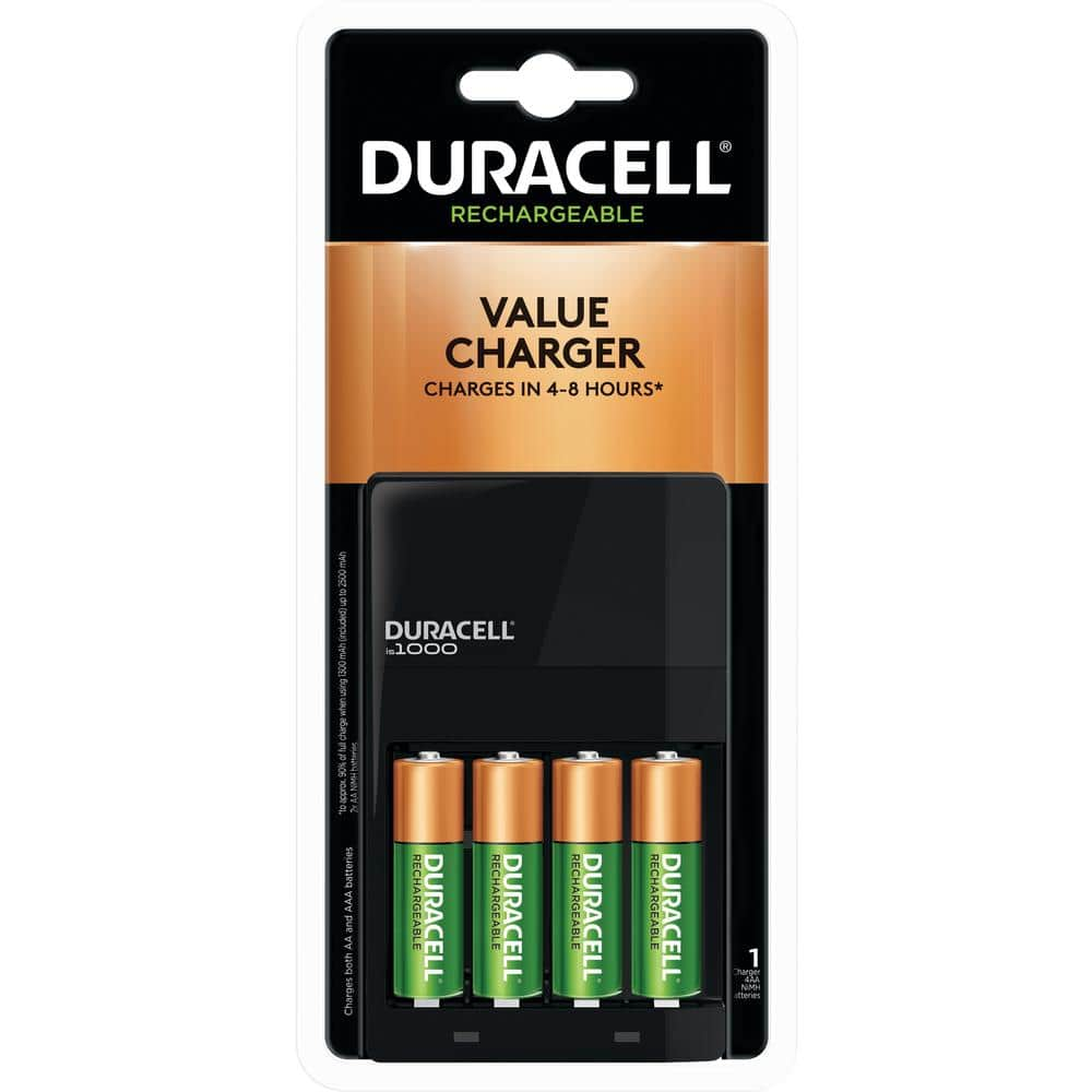 Duracell Coppertop Alkaline Aa Battery Charger With 4 Aa Rechargeable Batteries Included 004133366112 The Home Depot
