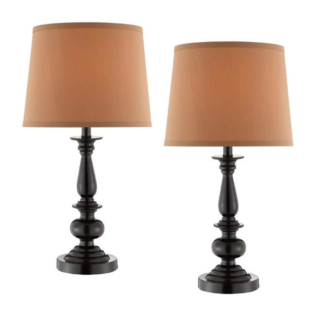 22 In Oil Rubbed Bronze Trophy Style Table Lamp With Coffee Fabric Shade Set Of 2 18842 002 The Home Depot