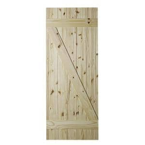 33 in. x 84 in. Cellar Z-Brace Unfinished Knotty Pine Interior Barn Door Slab