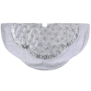 60 in. Iridescent Sequined White and Silver Christmas Tree Skirt with Faux Fur Trim