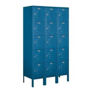 65000 Series 36 in. W x 66 in. H x 15 in. D Five Tier Box Style Metal Locker Assembled in Blue