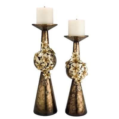 Bronze Virgo Orchid Polyresin Candleholders (Set of 2)
