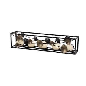 Rectangular Black Iron Candle Holder with Bronze Modern 3D Floral Design