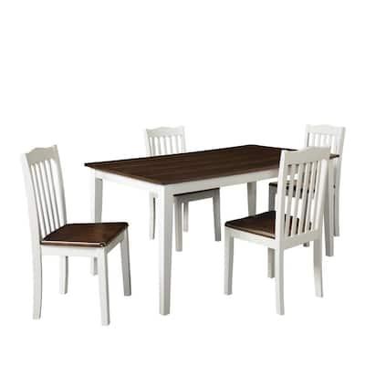 Shiloh 5-Piece Creamy White / Rustic Mahogany Dining Set