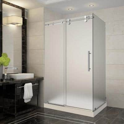 Langham 48 in. x 35 in. x 77.5 in. Completely Frameless Sliding Shower Enclosure and Frosted in Chrome with Left Base